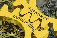Database monitoring concept on the gearwheels, 3D rendering. Database monitoring concept on the gearwheels, 3D Royalty Free Stock Images