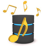 Database Music Notes. A database with golden music notes on the white background Stock Images