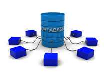 Database network. 3d illustration of network system with database server Stock Photos