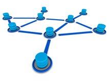 Database network center. Database load balancing concept, database network of data servers or data centers stock illustration