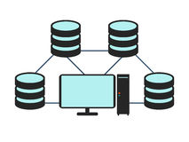 Database network icon. Flat Vector illustration on white backgro Stock Images