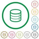 Database outlined flat icons. Set of database color round outlined flat icons on white background Stock Images