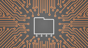 Database Over Computer Chip Moterboard Background Data Center System Concept Banner Royalty Free Stock Photo
