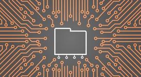 Database Over Computer Chip Moterboard Background Data Center System Concept Banner. Vector Illustration vector illustration