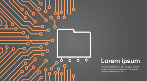 Database Over Computer Chip Moterboard Background Data Center System Concept Banner Royalty Free Stock Photos