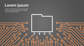 Database Over Computer Chip Moterboard Background Data Center System Concept Banner Royalty Free Stock Image
