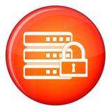Database with padlock icon, flat style Stock Photo