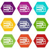 Database with padlock icon set color hexahedron Stock Photo