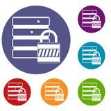 Database with padlock icons set Stock Images