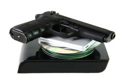 Database with pistol Royalty Free Stock Photo