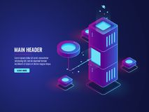 Database and processing data process icon, data center, server room, cloud storage illustration, futuristic. Digital technology dark neon isometric vector vector illustration