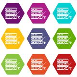Database with screwdriver and spanner icon set color hexahedron Stock Photos