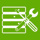 Database with screwdriverl and spanner icon green. Database with screwdriverl and spanner icon white isolated on green background. Vector illustration Royalty Free Stock Photography