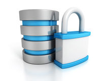 Database security concept with padlock Royalty Free Stock Photography