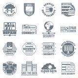 Database security logo icons set, simple style. Database security logo icons set. Simple illustration of 16 database security logo vector icons for web Stock Photo
