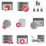 Database server and networking icon set Stock Images