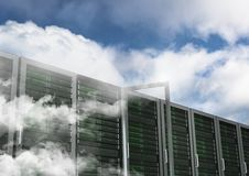 Database server systems against sky in background stock photos