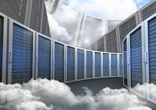 Database server systems against sky in background Stock Photo