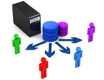Database server users. Users on a data base server, 3d concept of database server and connectivity with users or user applications royalty free illustration