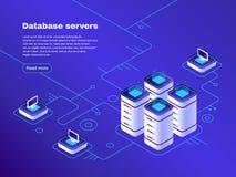 Database servers. Digital datacenter server network. Hosting tech support. Online cloud storage vector isometric vector illustration
