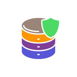 Database with shield colorful icon, Server protection vector flat sign. Stock Photography