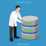 Database SQL storage HDD health checkup flat isometric vector 3d. Database SQL storage HDD health checkup concept icon. Flat 3d isometry isometric web vector Stock Images