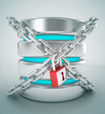 Database stogare and chain internet lock concept. 3d high quality render Royalty Free Stock Image