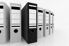 Database storage concept. Black folder standing out from a lot of white folders - database storage concept Stock Photo