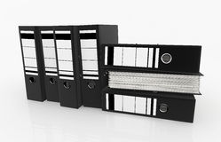 Database storage concept. Black folders arrange on white background - database storage concept Royalty Free Stock Photos