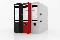Database storage concept. Black, white and red folders on white background - database storage concept Stock Images