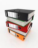 Database storage concept. Colorful folders stack on white background - database storage concept Royalty Free Stock Photo