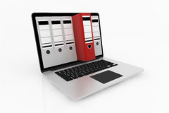 Database storage concept. Office file binders inside the screen of laptop - database storage concept Stock Image