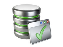 Database storage concept with Ok sign Stock Images