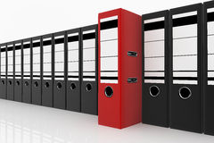 Database storage concept. Red folder standing out from a lot of black folders - database storage concept Stock Image