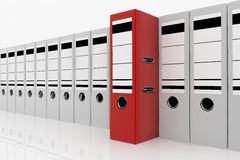 Database storage concept. Red folder standing out from a lot of white folders - database storage concept Stock Images