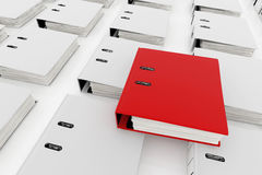 Database storage concept. Red folder on top of white folders arrange on white background - database storage concept Stock Photography
