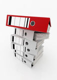 Database storage concept. Red folder on top of white folders stack on white background - database storage concept Royalty Free Stock Photo