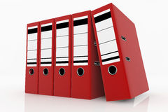 Database storage concept. Red folders arrange on white background - database storage concept Royalty Free Stock Image