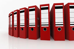 Database storage concept. Red folders arrange on white background - database storage concept Royalty Free Stock Photos