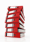 Database storage concept. Red folders stack on white background - database storage concept Stock Image