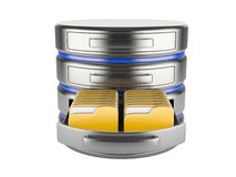 Database storage concept. On servers in cloud. 3D image isolated on white Stock Images