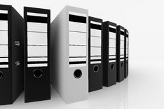 Database storage concept. White folder standing out from a lot of black folders - database storage concept Stock Images