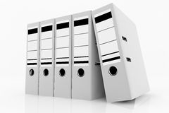 Database storage concept. White folders arrange on white background - database storage concept Stock Image