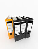 Database storage concept. Yellow folder standing out from black folders arrange on white background - database storage concept Stock Photo