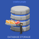 Database storage data folder flat 3d isometric vector. Database storage flat 3d isometry isometric technology concept web vector illustration. Micro businessman Royalty Free Stock Image