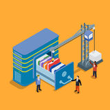 Database storage flat 3d isometric business technology server. Concept web vector illustration. Crane lowers a folder to the archive. Micro businessman put data stock illustration