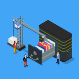 Database storage flat 3d isometric business technology server. Concept web vector illustration. Micro businessman put data folder into abstract data base server vector illustration