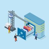 Database storage flat 3d isometric business technology server. Concept web vector illustration. Micro businessman put data folder into abstract data base server royalty free illustration