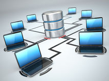 Database storage and laptops. Networking concept Royalty Free Stock Photo
