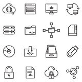 Database And Storage. Outline Icons Of Database And Storage Icons Royalty Free Stock Photo